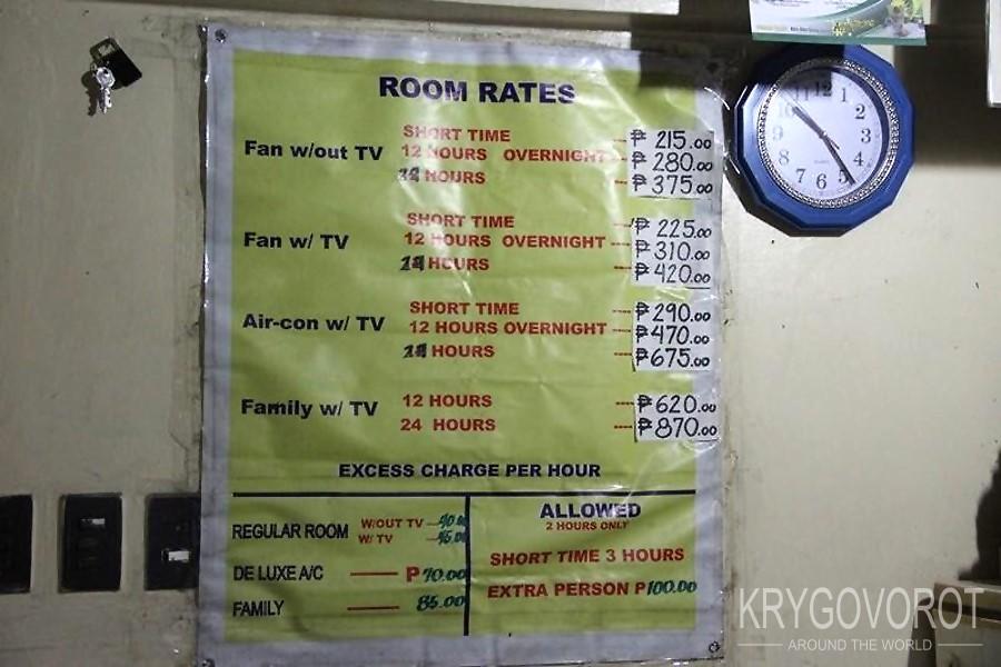 Цены в отеле